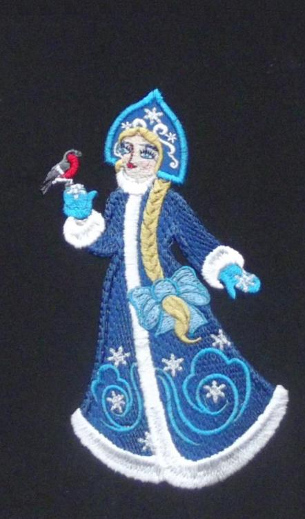 Snow Maiden with bullfinch free embroidery design