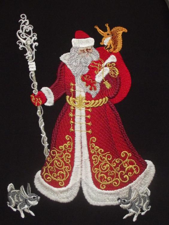 Embroidered Christmas scene with Santa Claus