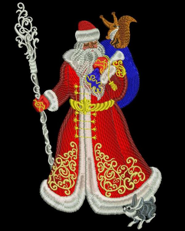 Santa Claus in winter forest free embroidery design
