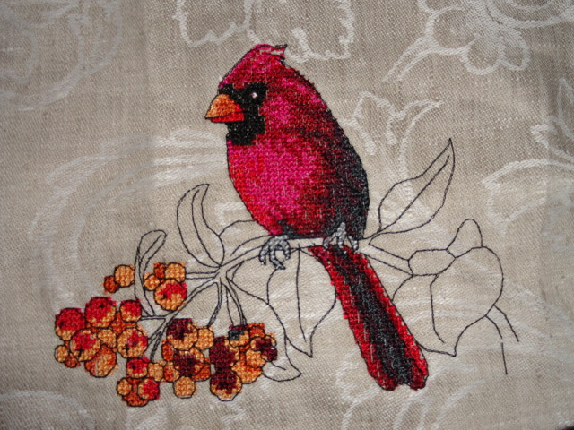Cross stitch bird embroidery