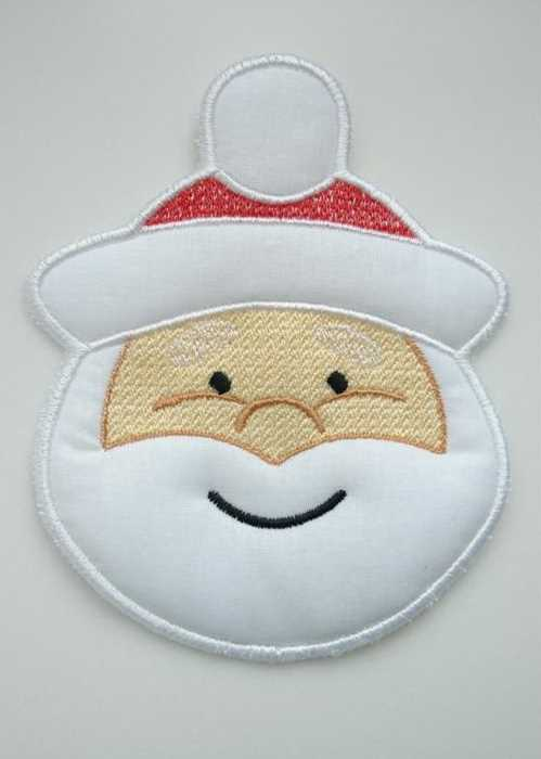 Embroidered Santa Claus applique embroidery design