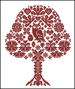Owl in wood cross stitch free embrodiery design