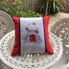 Pillow with cross stitch free embroidery design