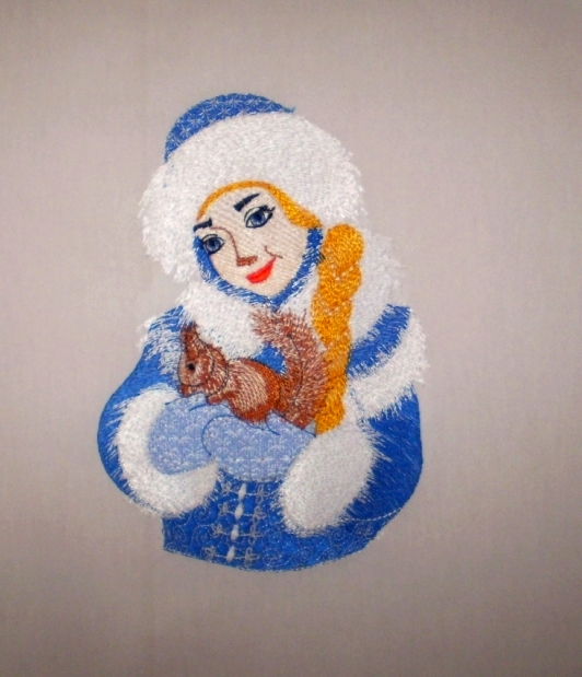 Snow maiden with squirrel embroidered_design