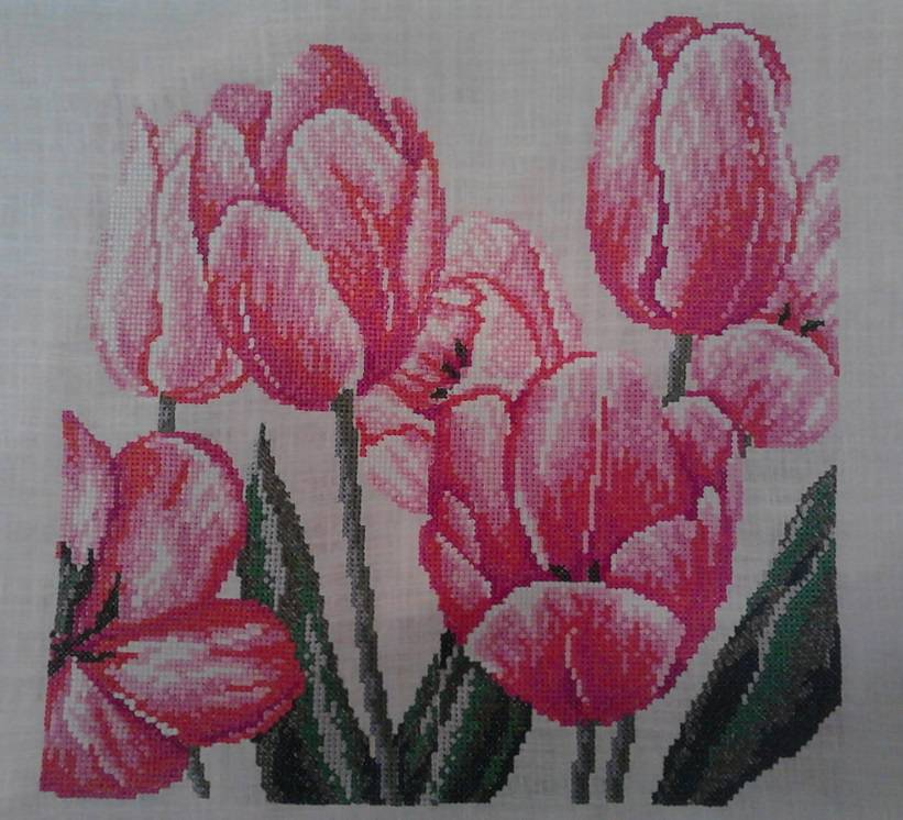 Tulips cross stitch free embroidery