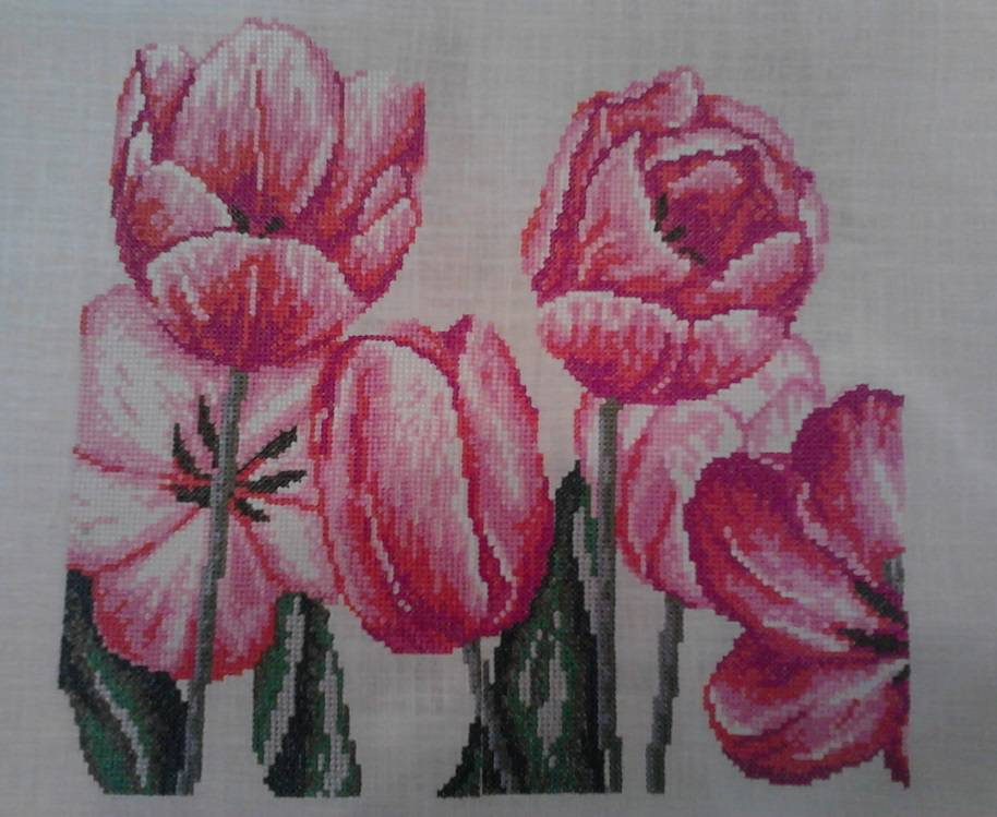 Tulips cross stitch free embroidery design