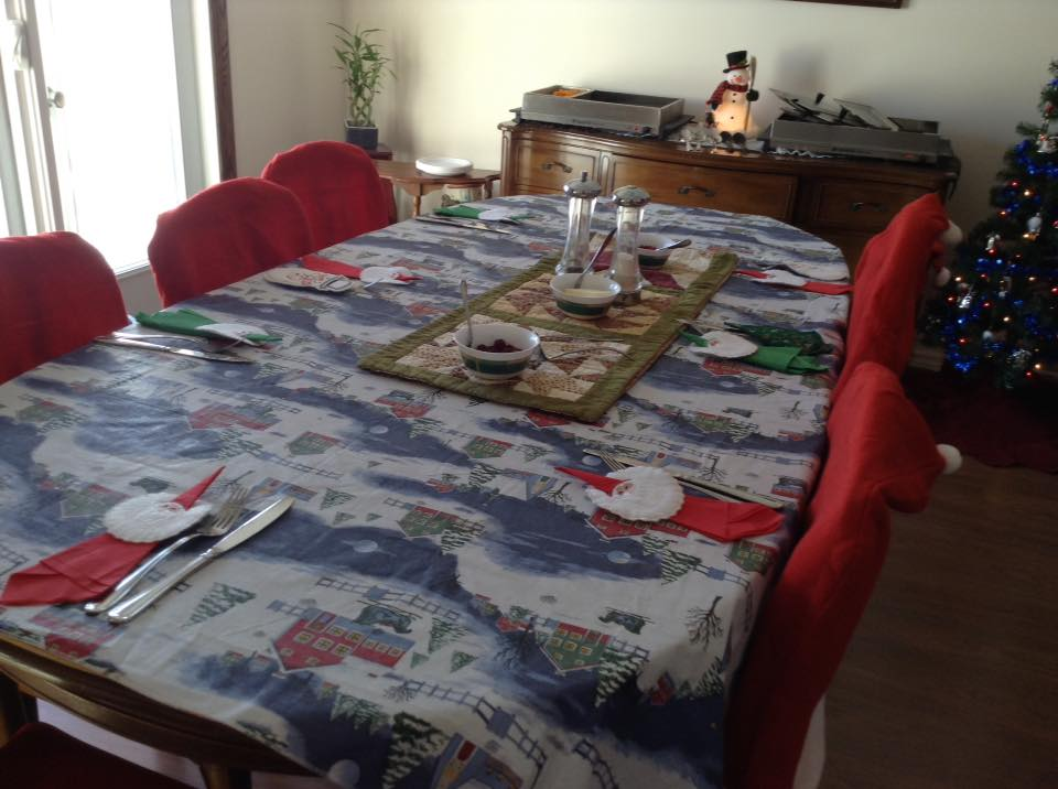 Christmas table with serviettes