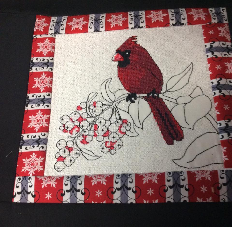 Cardinal cross stitch free embroidery design
