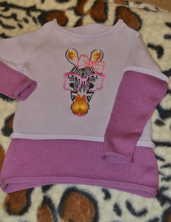 Baby outfit with zebra free embroidery design