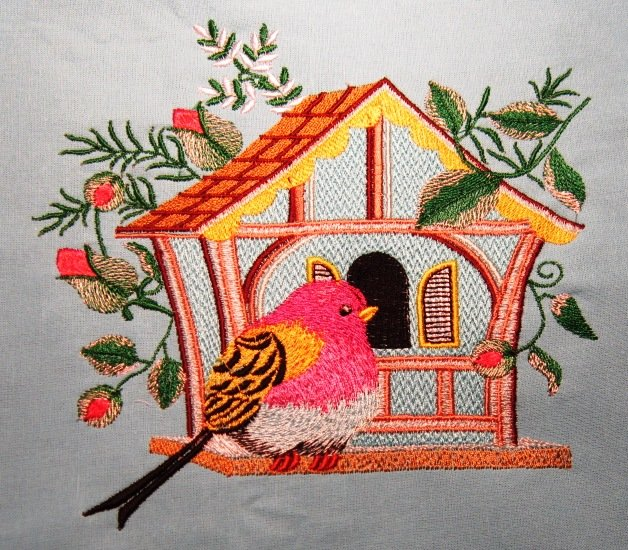 Embroidered bird free design