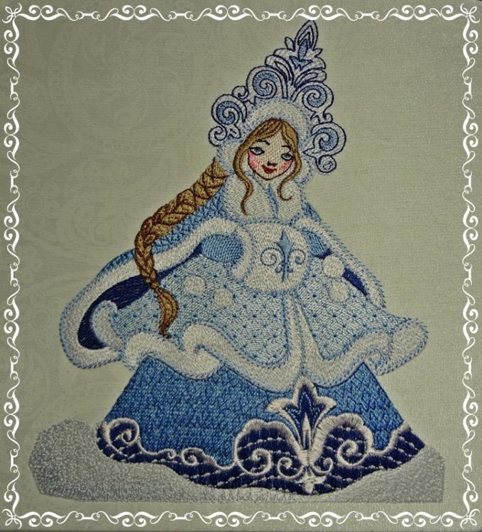 Embroidered snow maiden design