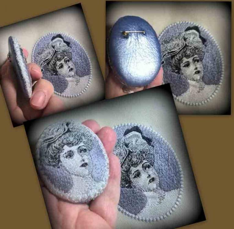 female portrait embroidered badge