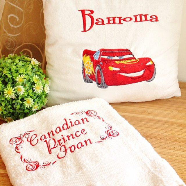 Pillow with Lightning McQueen embroidery design