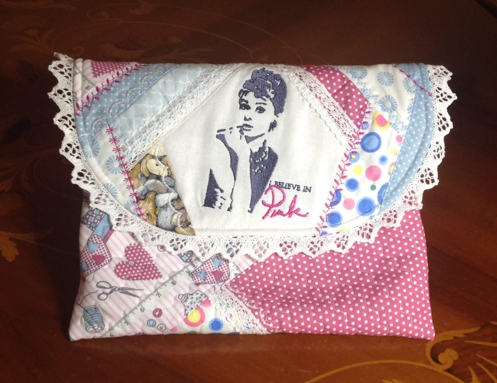 Baby bag with a portrait of Audrey Hepburn embroidery design