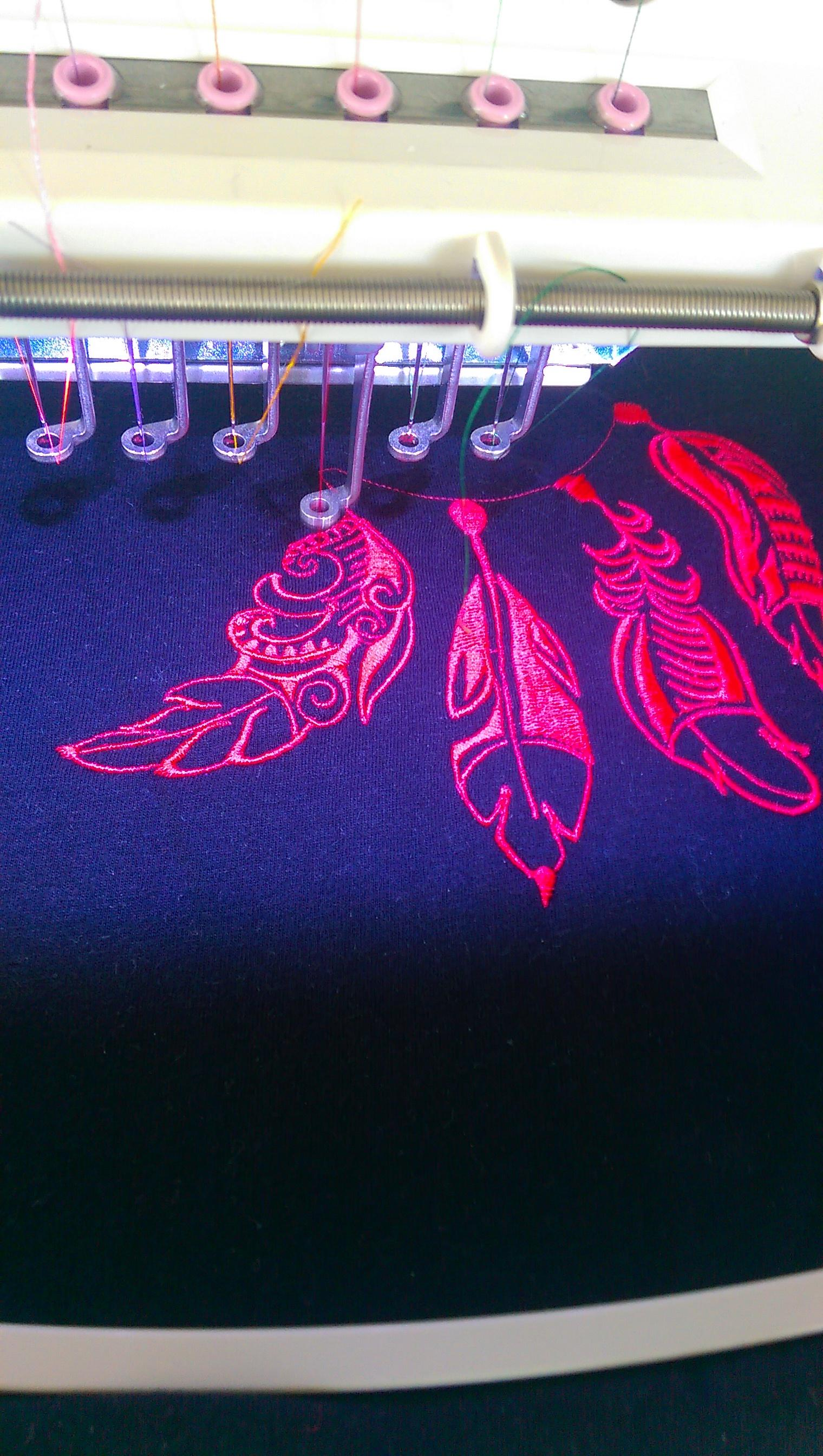 Dreamcatcher embroidery design in progress