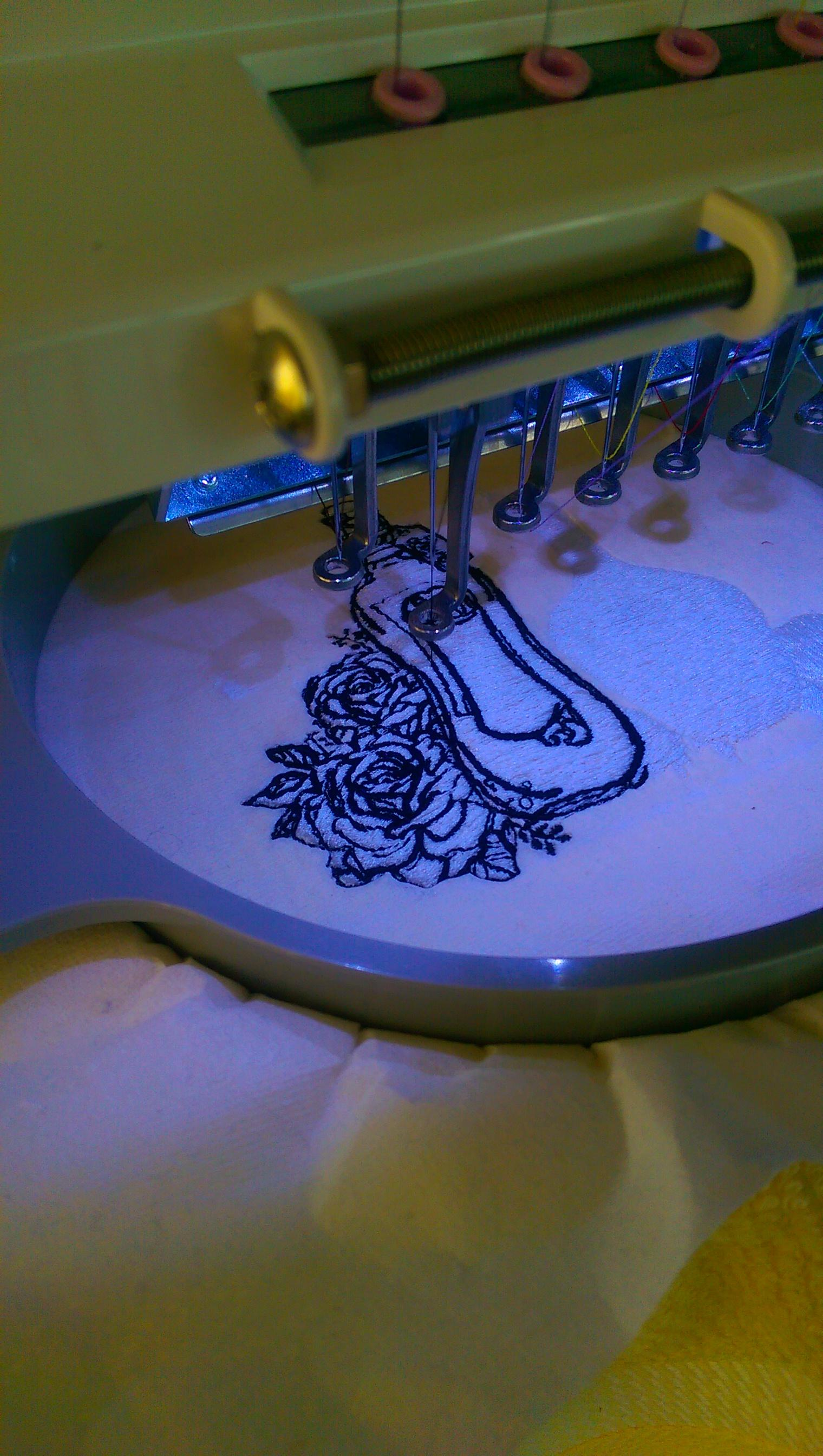 Bottles embroidery design in work