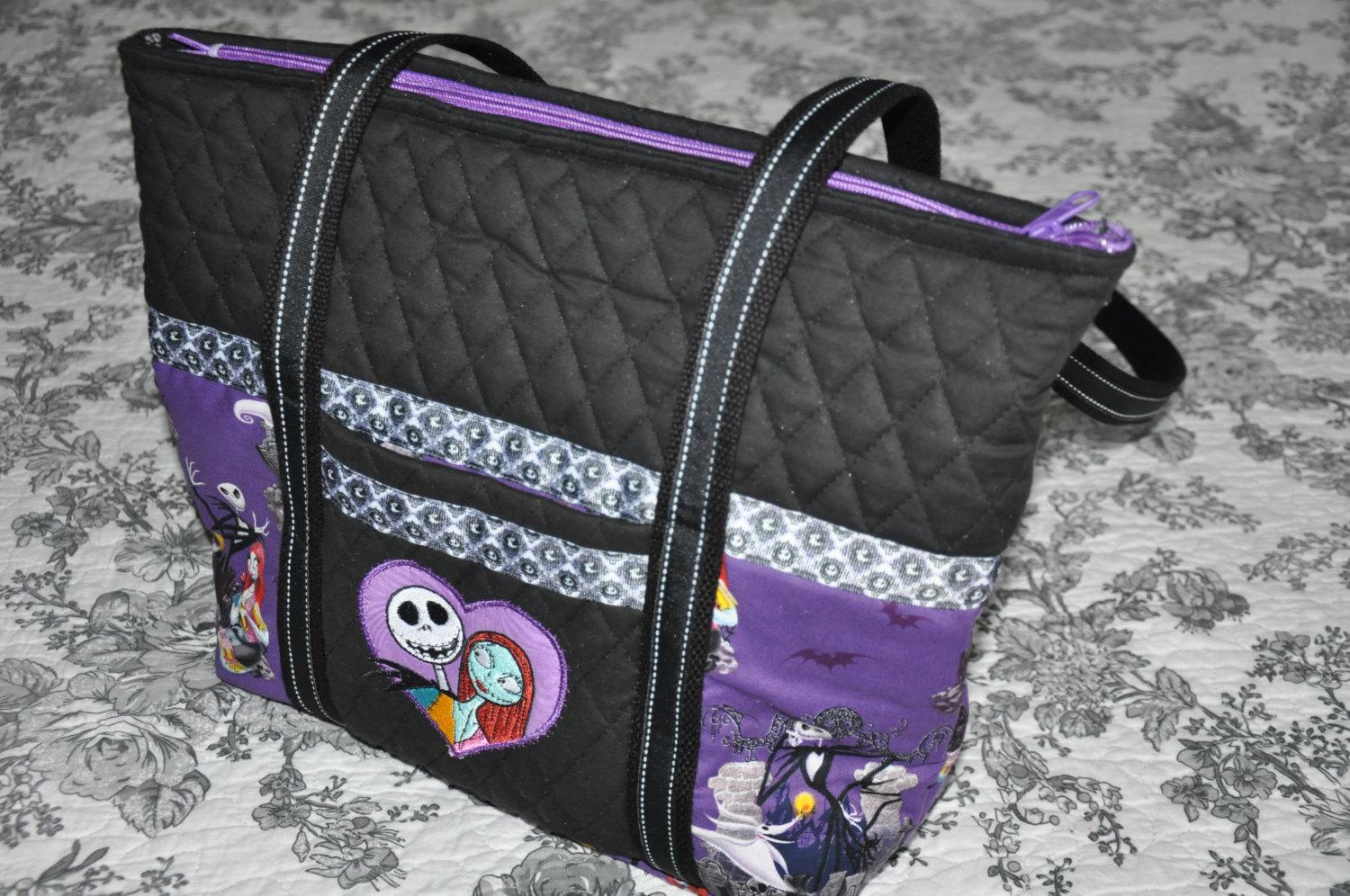 A bag with Jack and Sally from Nightmare Before Christmas design