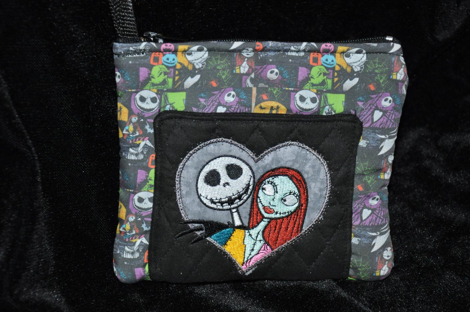 A purse with Jack Skellington and Sally design (closer look)