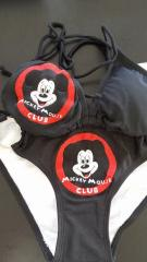 A swimsuit decorated with Mickey Mouse Club logo embroidery design