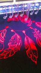 Dreamcatcher embroidery design in work