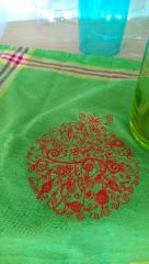 Napkin with Christmas ball embroidery design