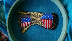 American military boot embroidered design
