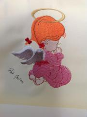 A girl angel embroidery design