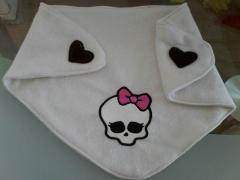 Baby bib with Monster High embroidery design