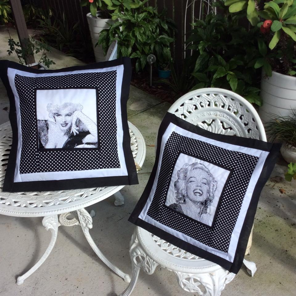 Marilyn Monroe embroidered pillows