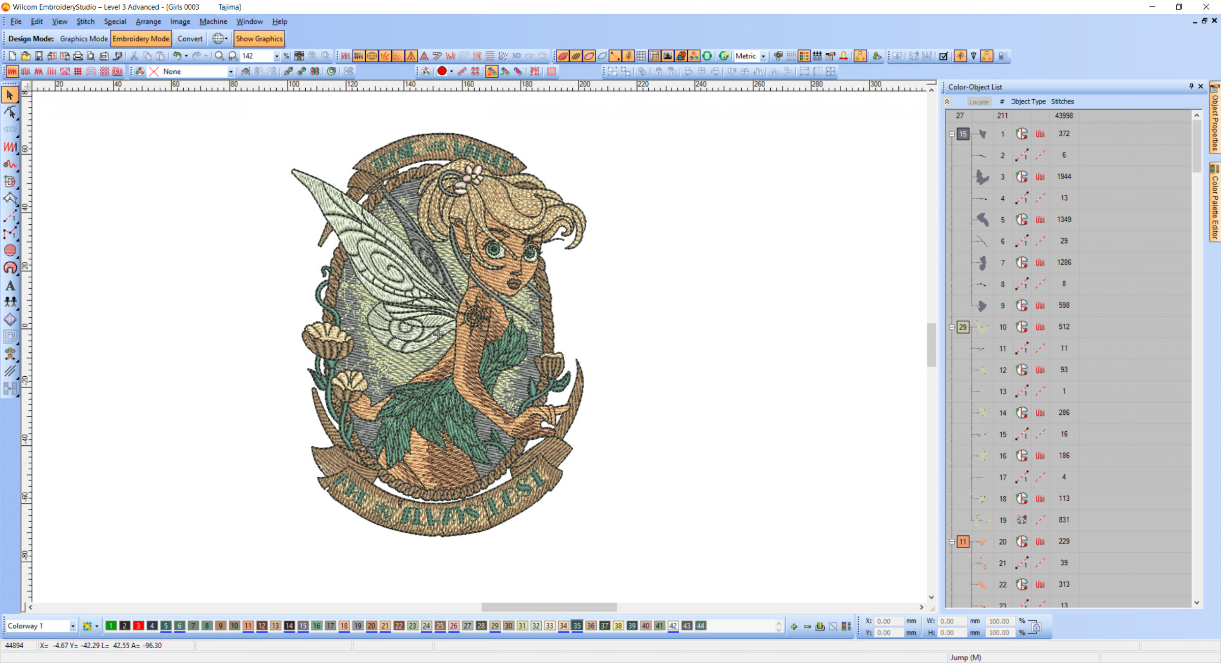 Forest tinkerbell embroidery design in Wilcom software