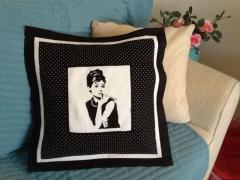 Audrey Hepburn design at embroidered pillow