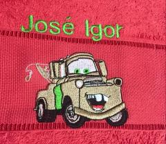 Embroidered towel with Mater Car design