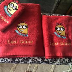 Embroidered towels with Crazy Minion design