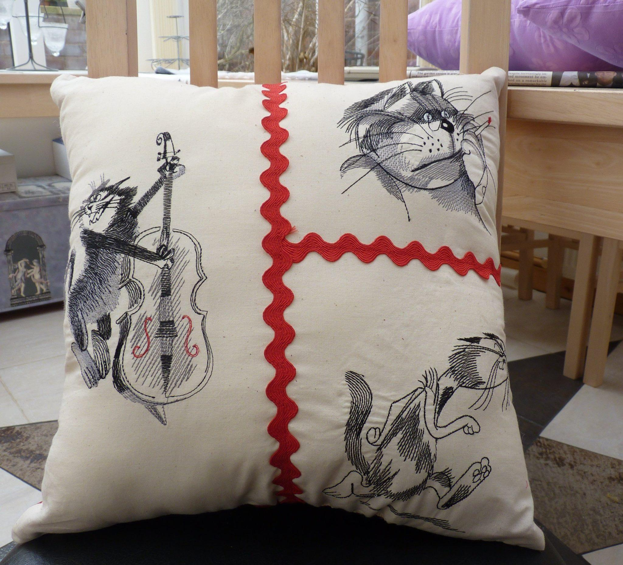 Crazy cats embroidered pillow