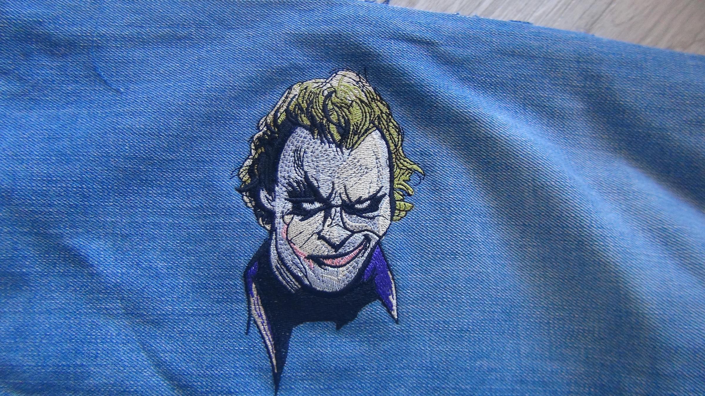 Joker embroidery design finished