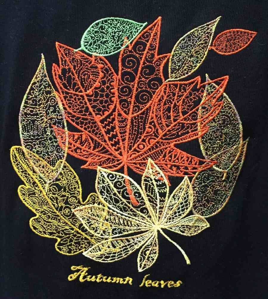 Autumn leaves FSL embroidery design