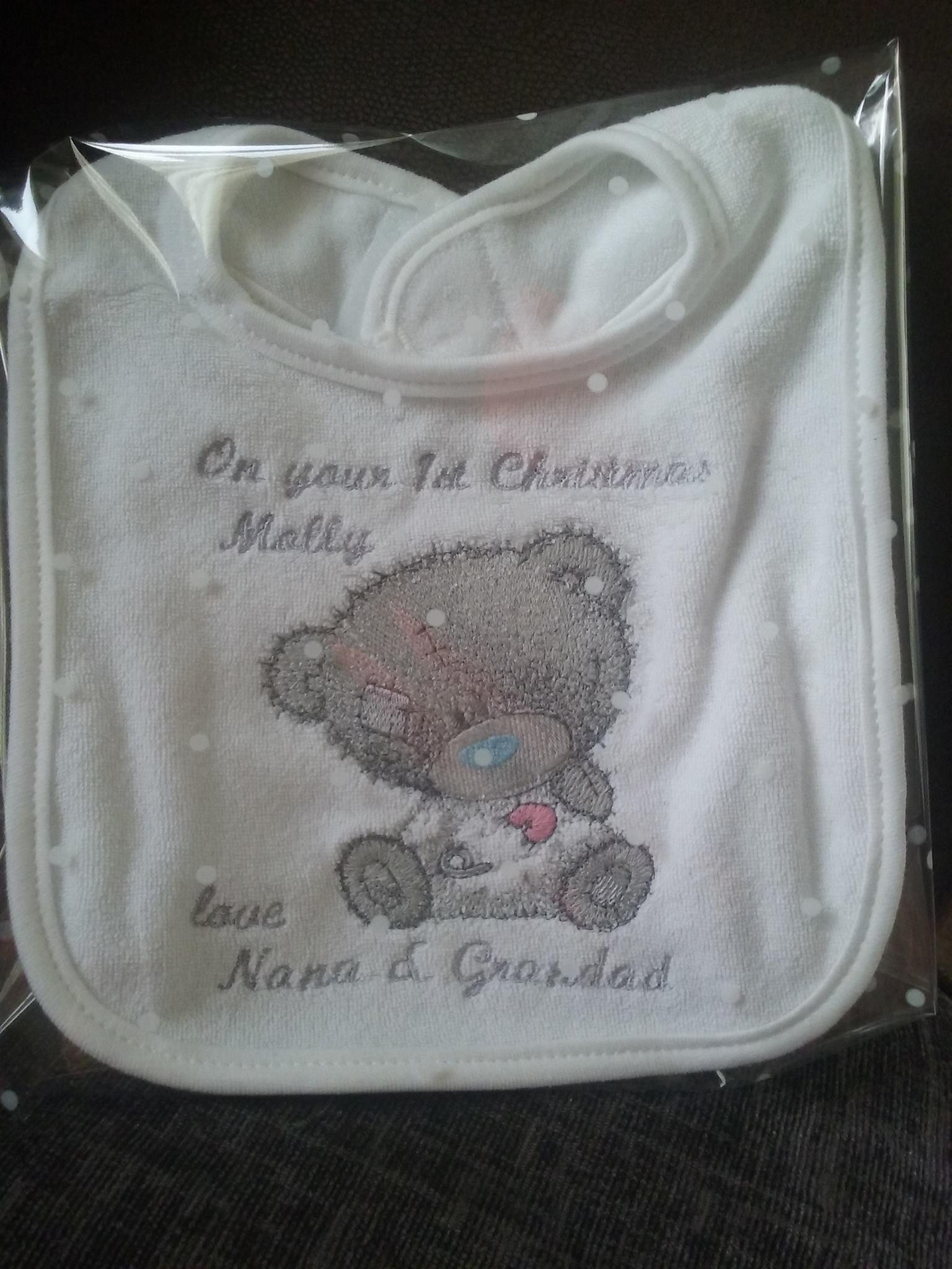 Baby bib with Tatty Teddy embroidery design