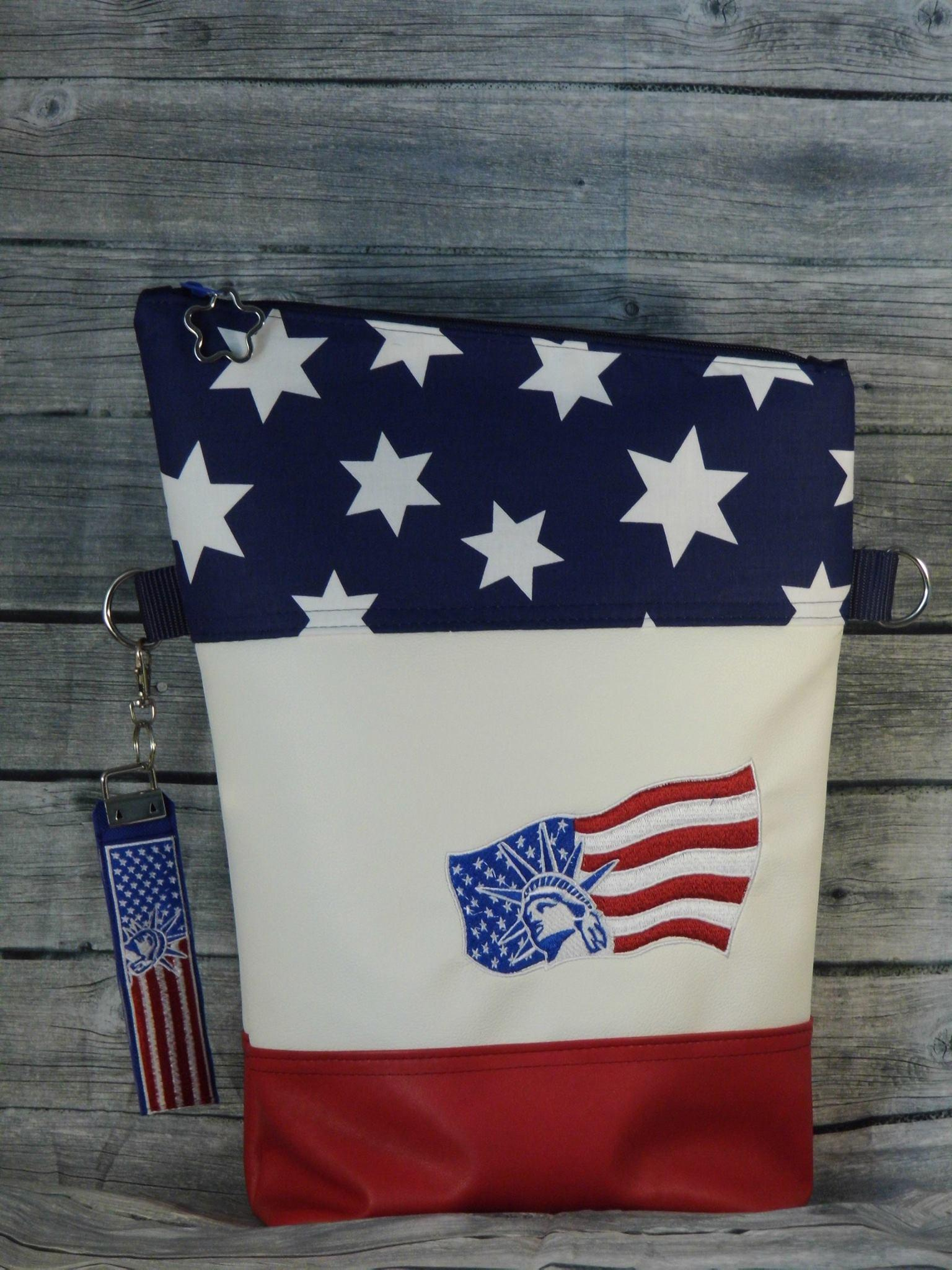 Bag with American flag embroidery design
