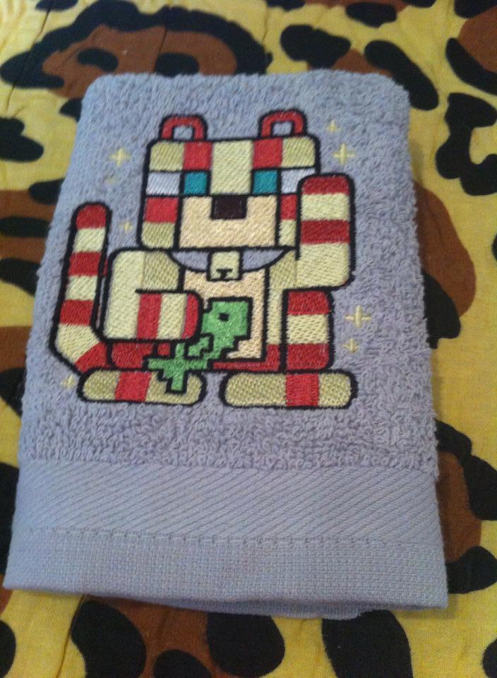 Bath towel with Cat mod Minecraft embroidery design