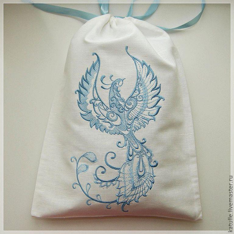 Cotton bag with blue Firebird embroidery design