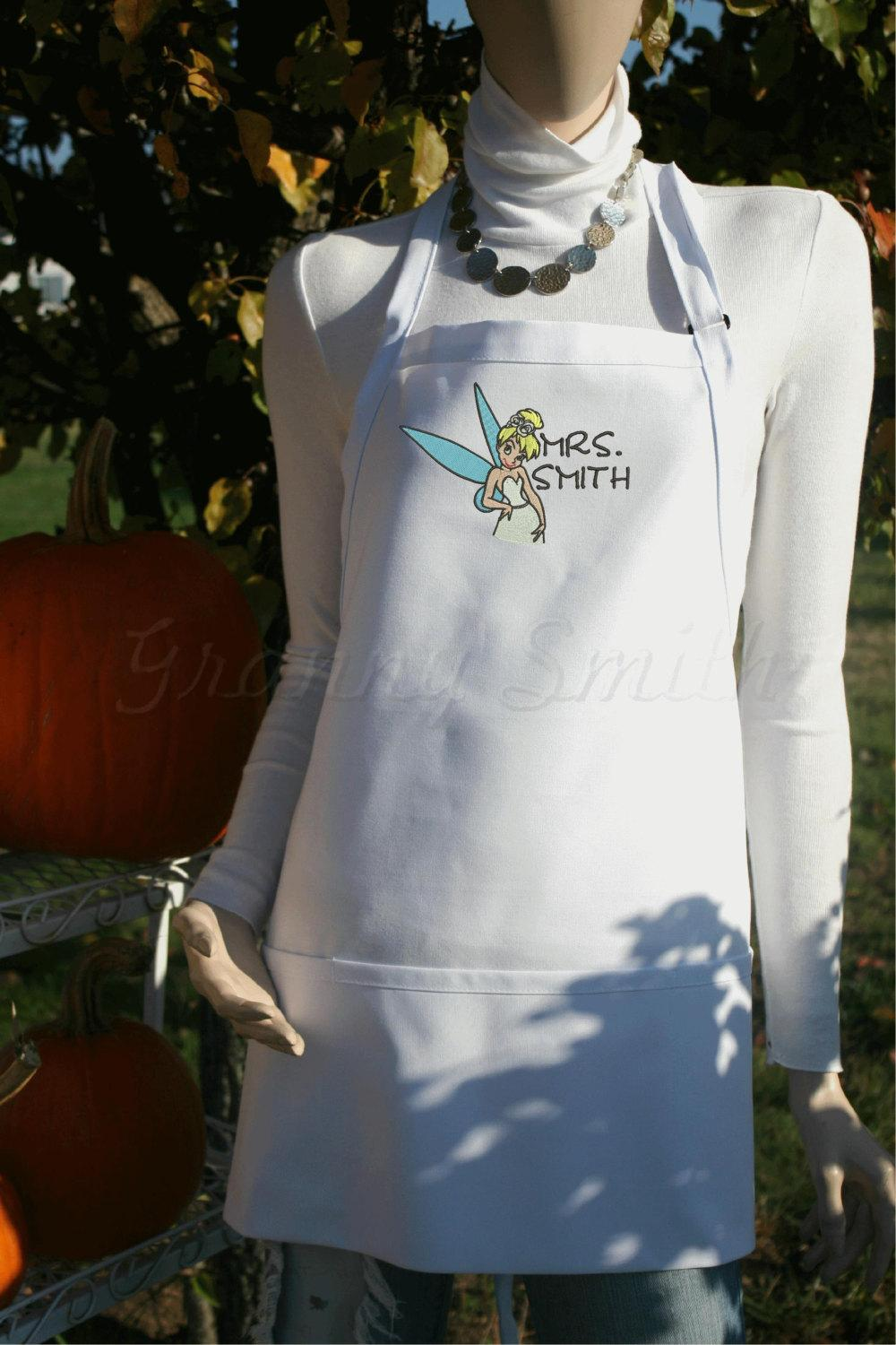 Tinkerbell embroidery design in a wedding dress apron — white
