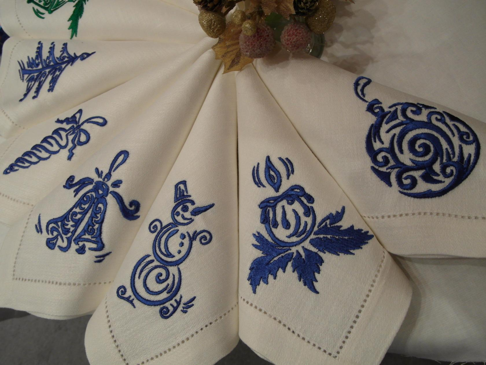 Embroidered christmas and NY napkins with free designs