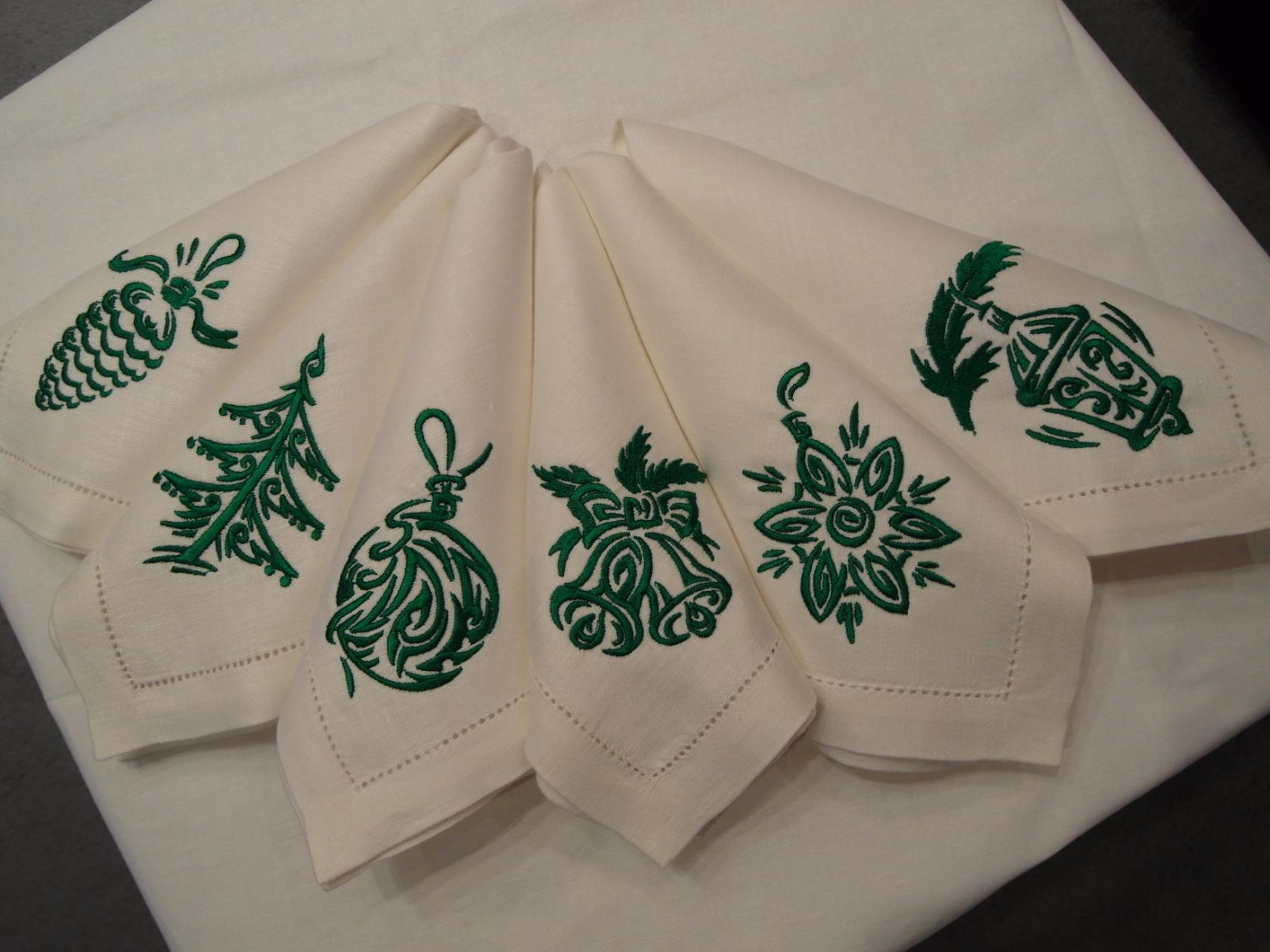 Christmas and NY napkins green colors with free embroidery designs