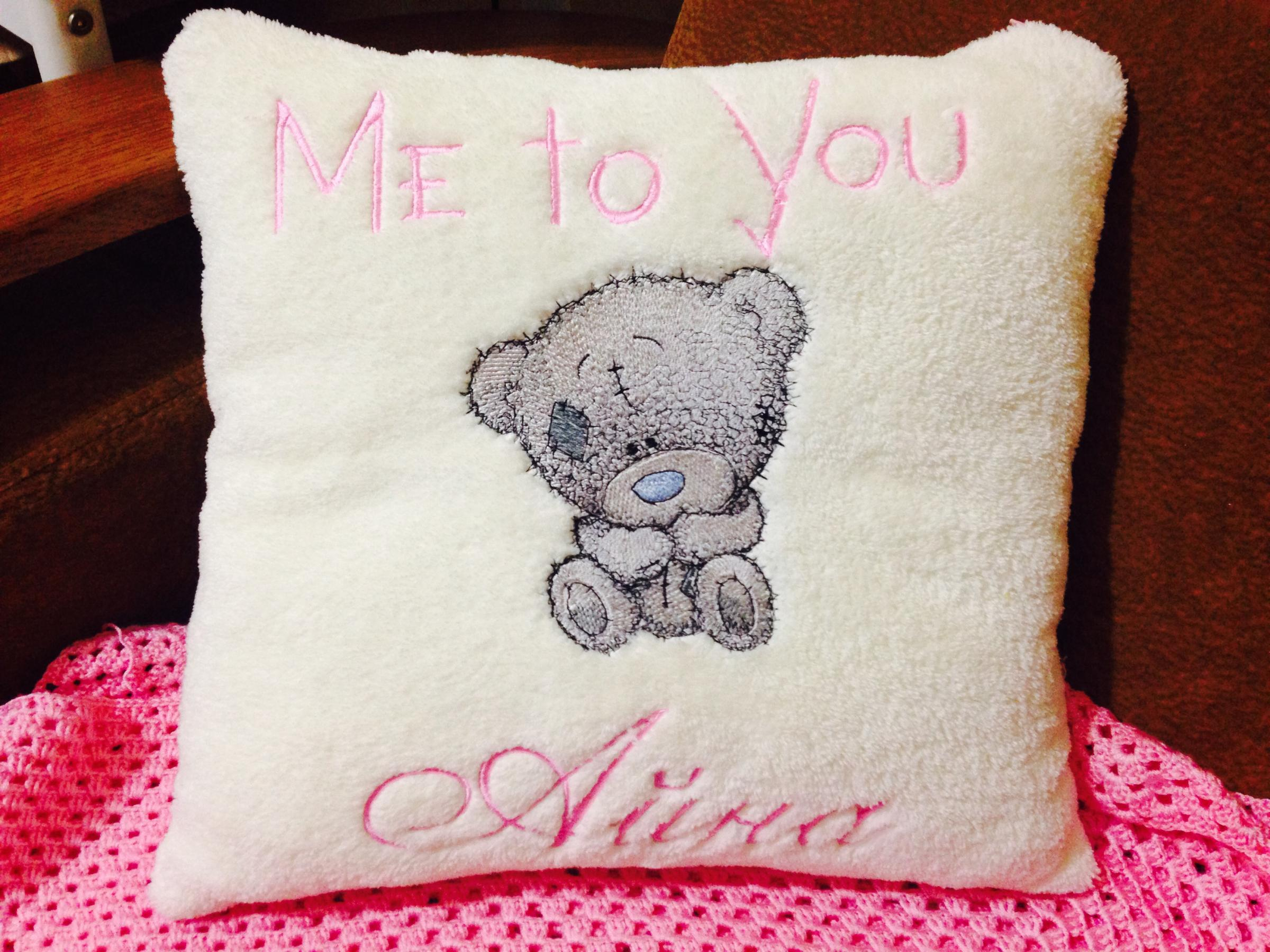 Me to you embroidered pillow