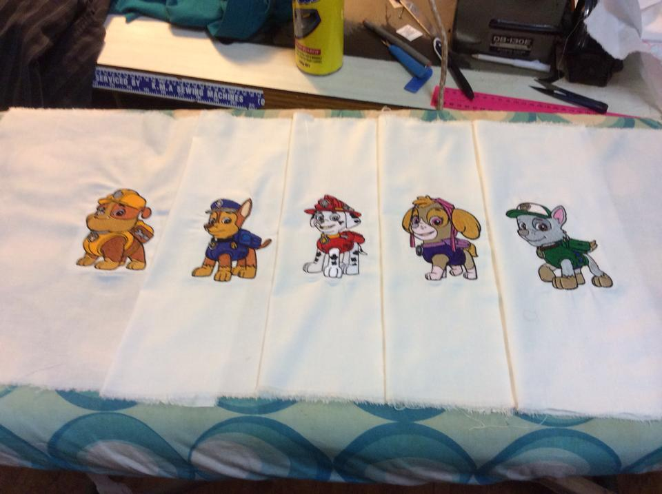 Paw Patrol embroidered designs