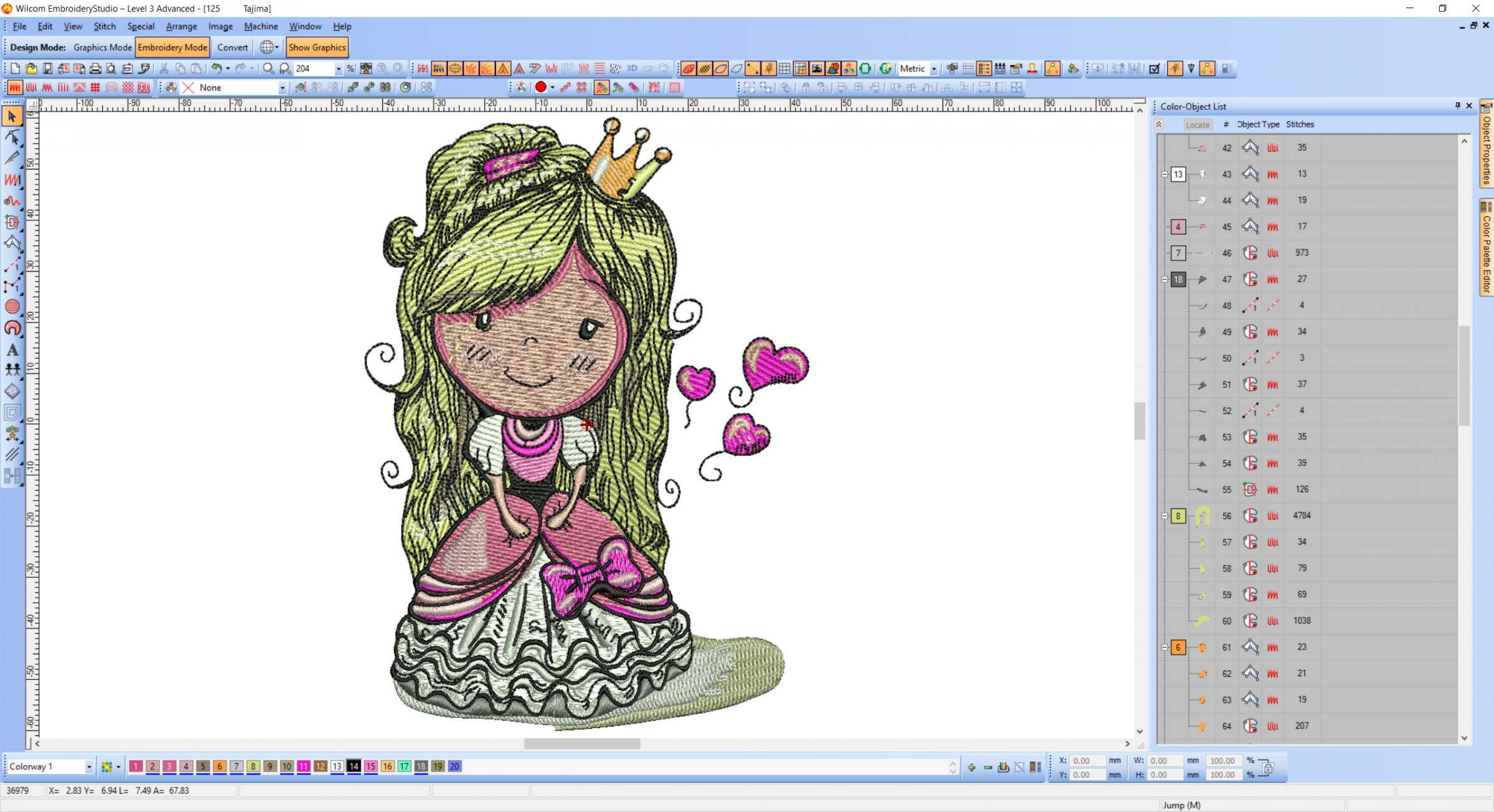 Princess design screenshot in Wilcom embroidery software