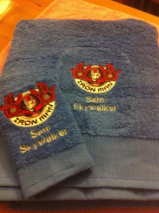Towel with Iron Man embroidery design