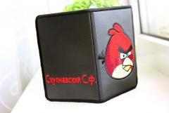ID cover with Angry birds logo embroidery design