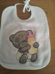 Baby bib with Tiny Teddy embroidery design