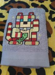 Bath towel with Cat mod Minecraft embroidery design